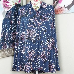 Investments Navy Sprinkle Long-sleeve Top Size 2X